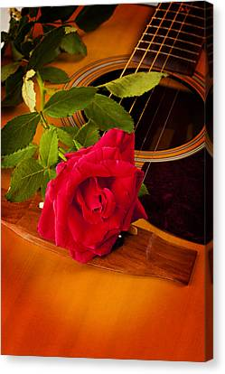 Red Rose Natural Acoustic Guitar Canvas Print by M K  Miller