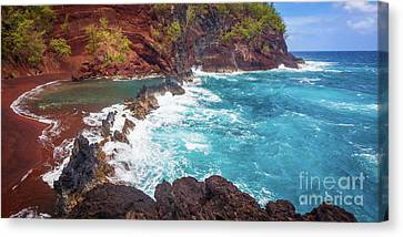 Red Sand Beach Panorama Canvas Print by Inge Johnsson