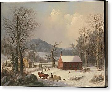 Red School House Canvas Print by George Henry