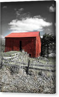 Red Shack Landscape Canvas Print by Joan  Minchak