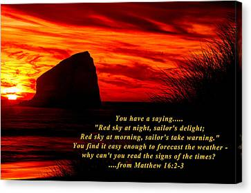 Red Sky At Night, Sailor's Delight - Why Can't You Read The Signs Of The Times - From Matthew 16.2-3 Canvas Print by Michael Mazaika