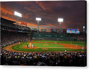 Red Sky Over Fenway Park Canvas Print by Toby McGuire
