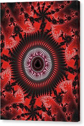 Red Spiral Infinity Canvas Print by Becky Herrera