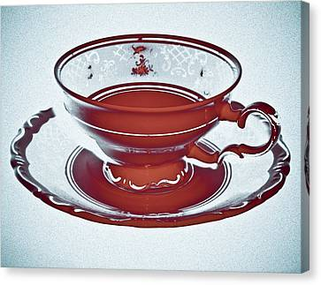 Red Tea Cup Canvas Print by Frank Tschakert