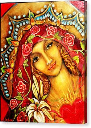 Red Thread Madonna Canvas Print by Molly Indura