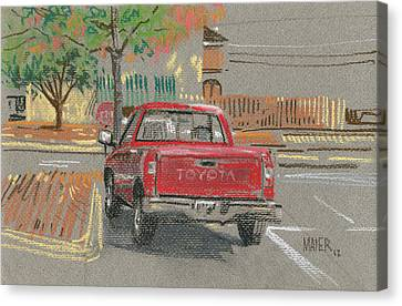 Red Toyota Canvas Print by Donald Maier