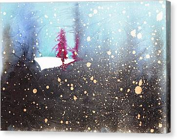 Red Trees In The Snow Canvas Print by Marian Fannon Christian