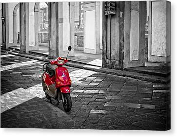 Red Vespa Canvas Print by Michael Avory