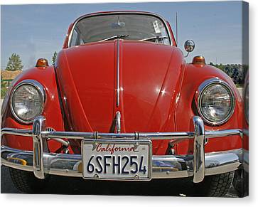 Red Volkswagen Beetle Canvas Print by Georgia Fowler