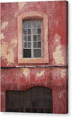 Red Wall In Isle Sur La Sorgue Canvas Print by Antique Images