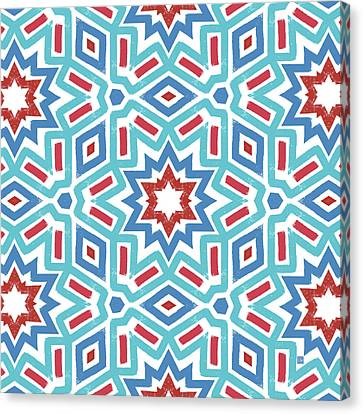 Red White And Blue Fireworks Pattern- Art By Linda Woods Canvas Print by Linda Woods