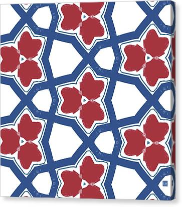 Red White And Blue Floral Motif- Art By Linda Woods Canvas Print by Linda Woods