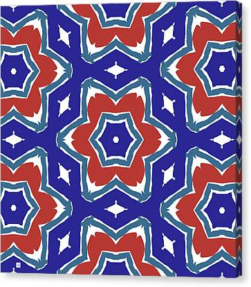 Red White And Blue Star Flowers 1- Pattern Art By Linda Woods Canvas Print by Linda Woods