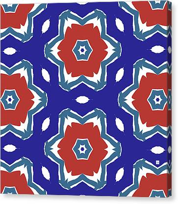 Red White And Blue Star Flowers 2 - Pattern Art By Linda Woods Canvas Print by Linda Woods