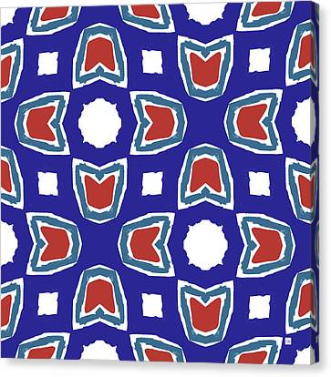 Red White And Blue Tulips Pattern- Art By Linda Woods Canvas Print by Linda Woods