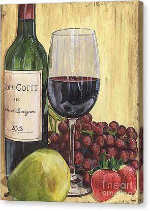 Red Wine And Pear 2 Canvas Print by Debbie DeWitt