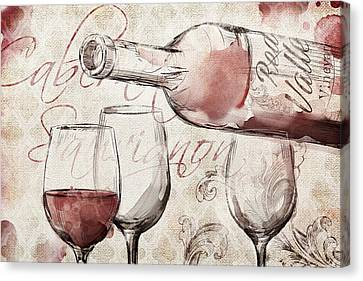 Red Wine Burlap Canvas Print by Mauro DeVereaux