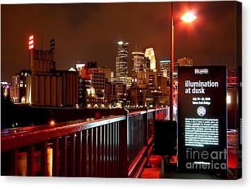 Redbull Illume Minneapolis Stone Arch Bridge Canvas Print by Wayne Moran