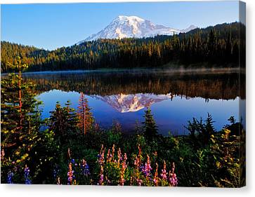 Reflection Lake Mt Rainier Canvas Print by Alvin Kroon