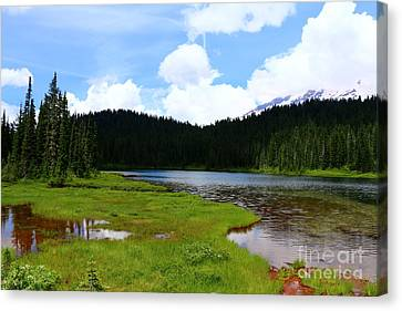 Reflection Lakes  - Mount Rainier Canvas Print by Christiane Schulze Art And Photography