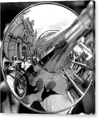 Reflections In A Trombone Canvas Print by Todd Fox