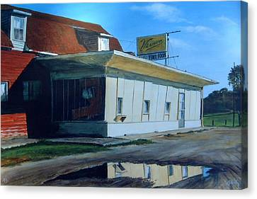 Reflections Of A Diner Canvas Print by William  Brody