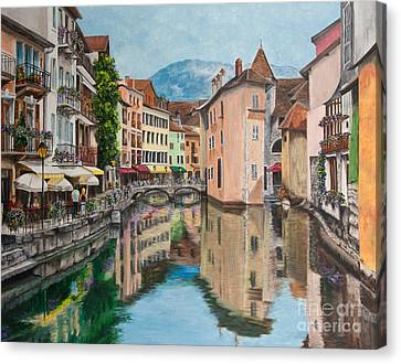 Reflections Of Annecy Canvas Print by Charlotte Blanchard