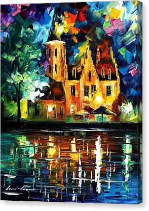 Reflections Of Brussels - Palette Knife Oil Painting On Canvas By Leonid Afremov Canvas Print by Leonid Afremov