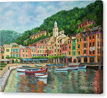 Reflections Of Portofino Canvas Print by Charlotte Blanchard