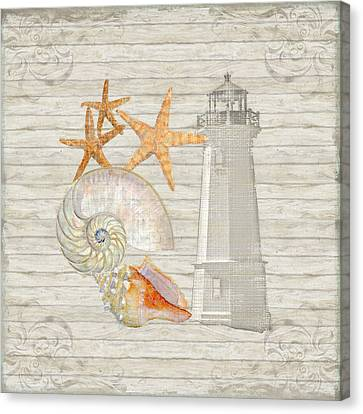 Refreshing Shores - Lighthouse Starfish Nautilus N Conch Over Driftwood Background Canvas Print by Audrey Jeanne Roberts