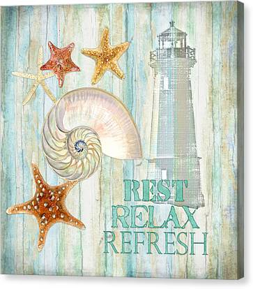 Refreshing Shores - Rest Relax Refresh Canvas Print by Audrey Jeanne Roberts