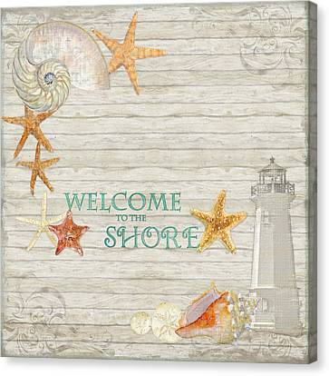 Refreshing Shores - Welcome To The Shore Lighthouse Canvas Print by Audrey Jeanne Roberts