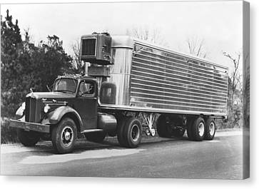 Refrigerated Semi Trailer Canvas Print by Underwood Archives