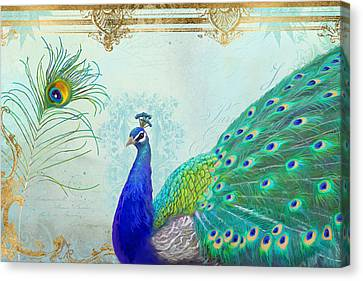 Regal Peacock 2 W Feather N Gold Leaf French Style Canvas Print by Audrey Jeanne Roberts