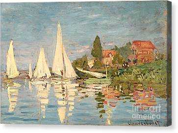 Regatta At Argenteuil Canvas Print by Claude Monet