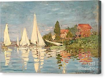 Regatta At Argenteuil Canvas Print by Claude Monet