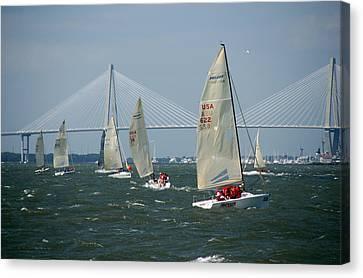 Regatta In Charleston Harbor Canvas Print by Susanne Van Hulst