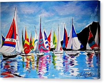 Regatta On Lake Almanor Canvas Print by Therese Fowler-Bailey
