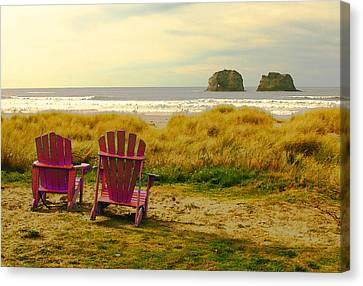 Relaxing At Rockaway Beach And Twin Rocks Canvas Print by Margaret Hood