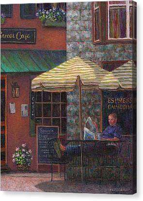 Relaxing At The Cafe Canvas Print by Susan Savad