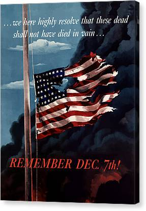 Remember December Seventh Canvas Print by War Is Hell Store