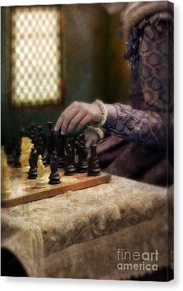 Renaissance Lady Playing Chess Canvas Print by Jill Battaglia