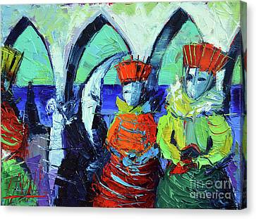 Rendez-vous In Venice Canvas Print by Mona Edulesco