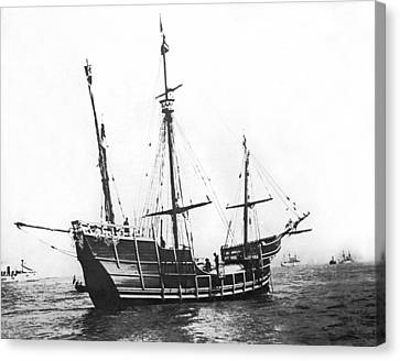 Replica Of Columbus's Nina Canvas Print by Underwood Archives