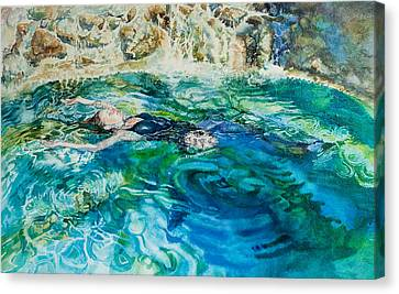 Repose In A Pool In France Canvas Print by Gilly Marklew