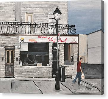 Restaurant Chez Paul Pointe St. Charles Canvas Print by Reb Frost