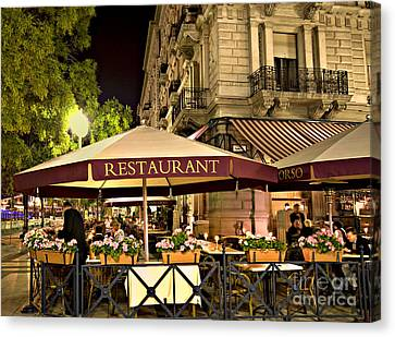 Restaurant In Budapest Canvas Print by Madeline Ellis