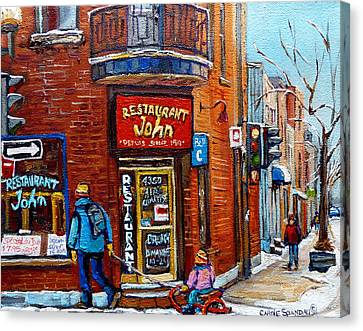 Restaurant John Montreal Canvas Print by Carole Spandau