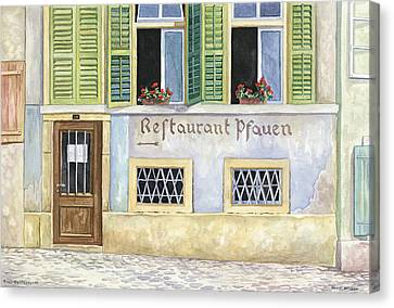 Restaurant Pfauen Canvas Print by Scott Nelson