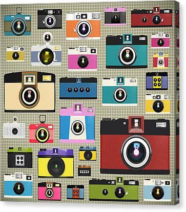 Retro Camera Pattern Canvas Print by Setsiri Silapasuwanchai